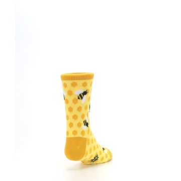 Image of Yellow Honeycomb Bees Kid's Dress Socks (side-1-back-20)