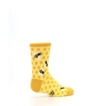 Image of Yellow Honeycomb Bees Kid's Dress Socks (side-1-23)