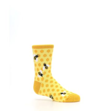Image of Yellow Honeycomb Bees Kid's Dress Socks (side-1-25)