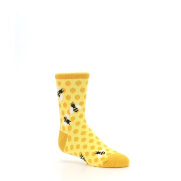 Image of Yellow Honeycomb Bees Kid's Dress Socks (side-1-26)