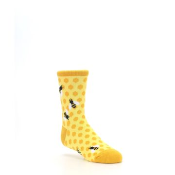 Image of Yellow Honeycomb Bees Kid's Dress Socks (side-1-27)