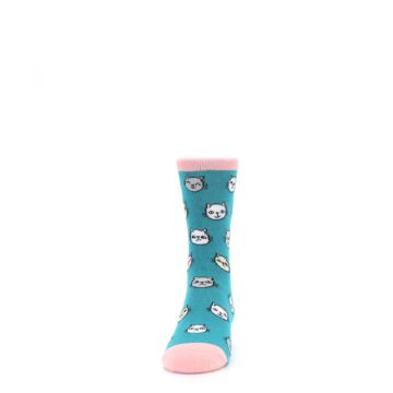 Image of Teal Pink Cats Kid's Dress Socks (front-05)