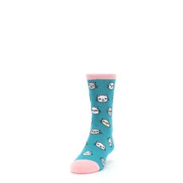 Image of Teal Pink Cats Kid's Dress Socks (side-2-front-06)