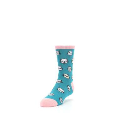 Image of Teal Pink Cats Kid's Dress Socks (side-2-front-07)