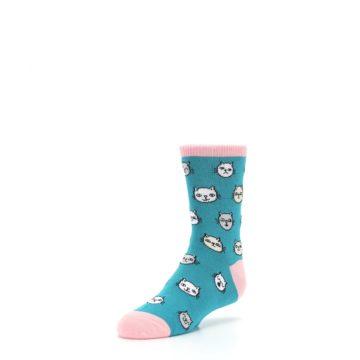 Image of Teal Pink Cats Kid's Dress Socks (side-2-front-08)