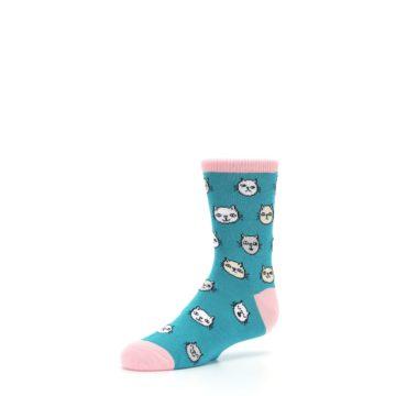 Image of Teal Pink Cats Kid's Dress Socks (side-2-09)