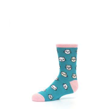 Image of Teal Pink Cats Kid's Dress Socks (side-2-10)