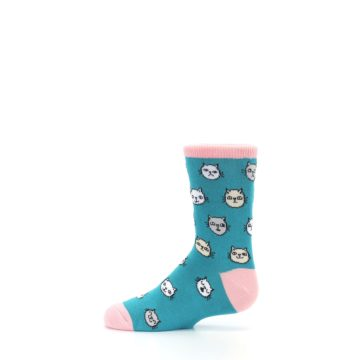 Image of Teal Pink Cats Kid's Dress Socks (side-2-12)