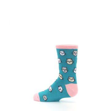 Image of Teal Pink Cats Kid's Dress Socks (side-2-13)