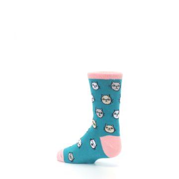 Image of Teal Pink Cats Kid's Dress Socks (side-2-back-14)