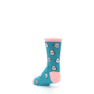 Image of Teal Pink Cats Kid's Dress Socks (side-2-back-15)