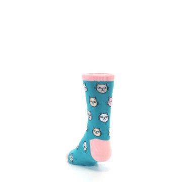 Image of Teal Pink Cats Kid's Dress Socks (side-2-back-16)