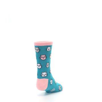 Image of Teal Pink Cats Kid's Dress Socks (side-1-back-20)