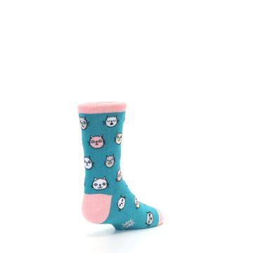 Image of Teal Pink Cats Kid's Dress Socks (side-1-back-21)