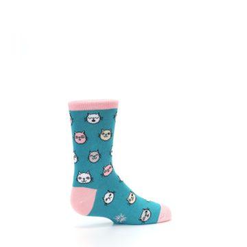 Image of Teal Pink Cats Kid's Dress Socks (side-1-23)