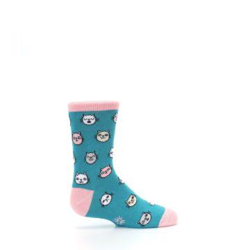 Image of Teal Pink Cats Kid's Dress Socks (side-1-24)