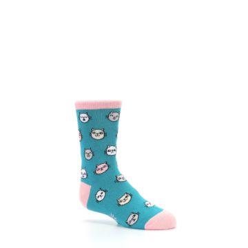 Image of Teal Pink Cats Kid's Dress Socks (side-1-26)