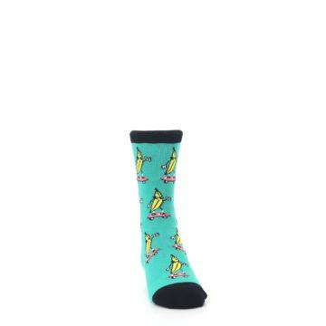 Image of Teal Skateboarding Banana Kid's Dress Socks (side-1-front-03)