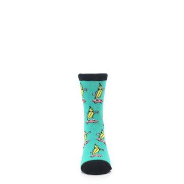 Image of Teal Skateboarding Banana Kid's Dress Socks (front-04)