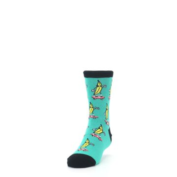 Image of Teal Skateboarding Banana Kid's Dress Socks (side-2-front-06)