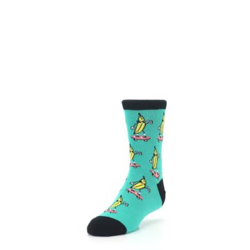 Image of Teal Skateboarding Banana Kid's Dress Socks (side-2-front-07)