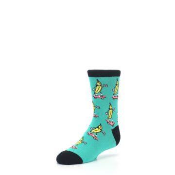 Image of Teal Skateboarding Banana Kid's Dress Socks (side-2-front-08)