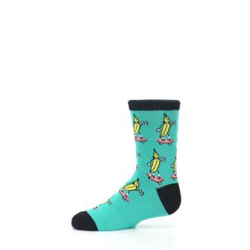 Image of Teal Skateboarding Banana Kid's Dress Socks (side-2-11)