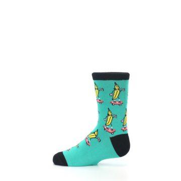 Image of Teal Skateboarding Banana Kid's Dress Socks (side-2-12)