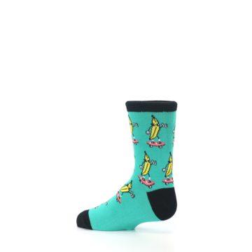 Image of Teal Skateboarding Banana Kid's Dress Socks (side-2-13)