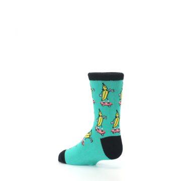 Image of Teal Skateboarding Banana Kid's Dress Socks (side-2-back-14)