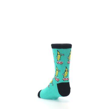 Image of Teal Skateboarding Banana Kid's Dress Socks (side-2-back-15)