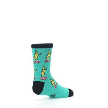 Image of Teal Skateboarding Banana Kid's Dress Socks (side-1-back-22)