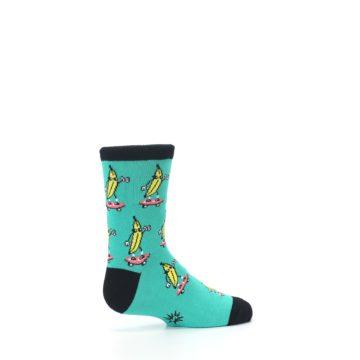 Image of Teal Skateboarding Banana Kid's Dress Socks (side-1-23)