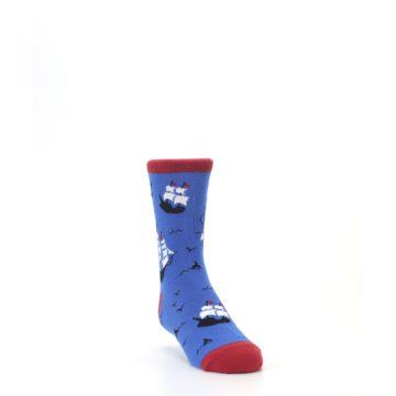 Image of Blue Sailing Ship Kid's Dress Socks (side-1-front-02)
