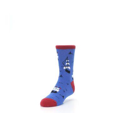 Image of Blue Sailing Ship Kid's Dress Socks (side-2-front-07)