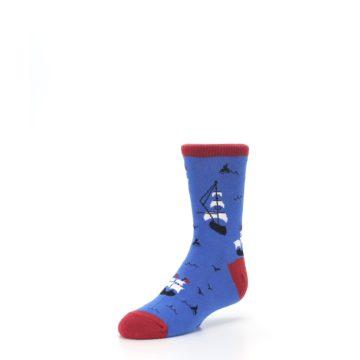 Image of Blue Sailing Ship Kid's Dress Socks (side-2-front-08)