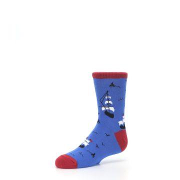 Image of Blue Sailing Ship Kid's Dress Socks (side-2-09)