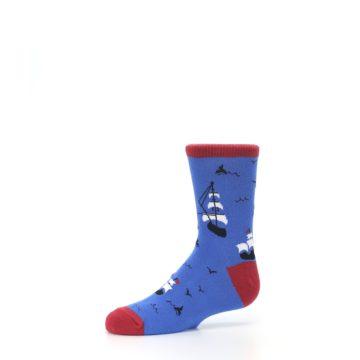Image of Blue Sailing Ship Kid's Dress Socks (side-2-10)
