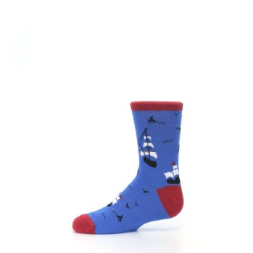 Image of Blue Sailing Ship Kid's Dress Socks (side-2-11)