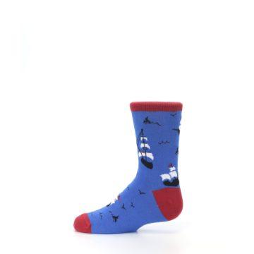 Image of Blue Sailing Ship Kid's Dress Socks (side-2-12)