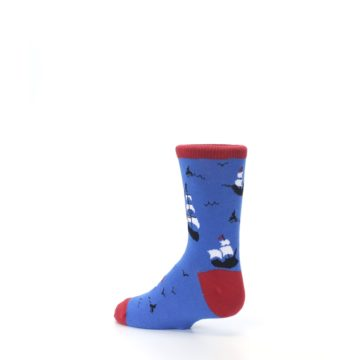 Image of Blue Sailing Ship Kid's Dress Socks (side-2-back-14)