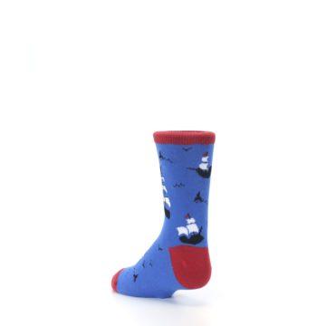 Image of Blue Sailing Ship Kid's Dress Socks (side-2-back-15)