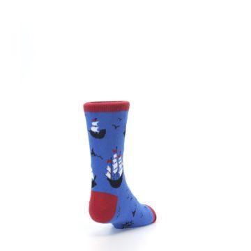 Image of Blue Sailing Ship Kid's Dress Socks (side-1-back-20)