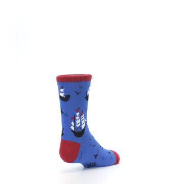 Image of Blue Sailing Ship Kid's Dress Socks (side-1-back-21)