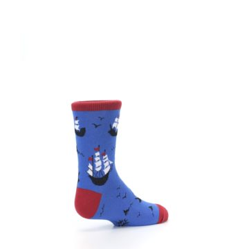 Image of Blue Sailing Ship Kid's Dress Socks (side-1-back-22)