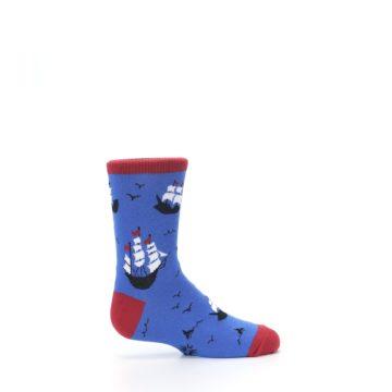 Image of Blue Sailing Ship Kid's Dress Socks (side-1-24)