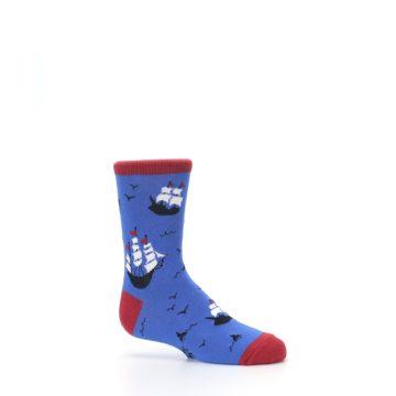 Image of Blue Sailing Ship Kid's Dress Socks (side-1-25)