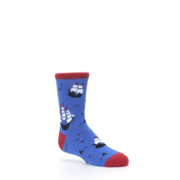 Image of Blue Sailing Ship Kid's Dress Socks (side-1-26)