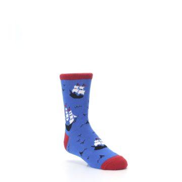 Image of Blue Sailing Ship Kid's Dress Socks (side-1-27)