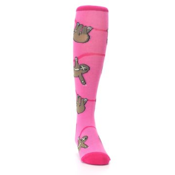 Image of Pink Sloth Kid's Knee High Socks (side-1-front-03)